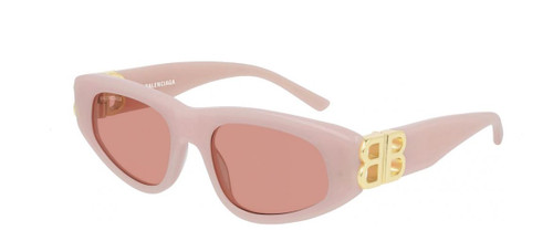 Authentic Balenciaga BB 0095S 003 Pink Gold/Red Oval Women's Sunglasses