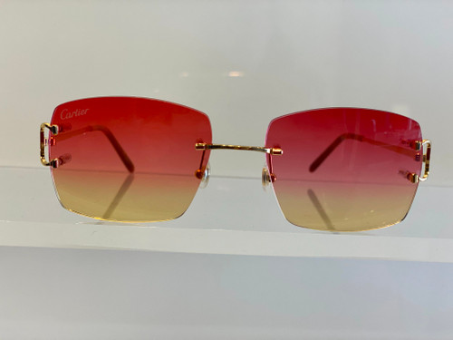 Authentic Cartier CT 0092O 002 Gold/Red Yellow Gradient Square Unisex Sunglasses