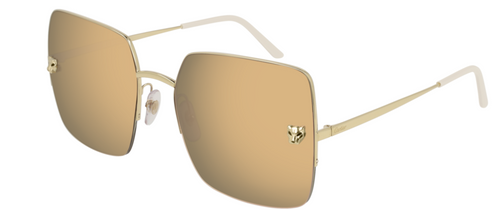 Authentic Cartier CT 0121S 001 Gold/Gold Mirrored Square Women's Sunglasses