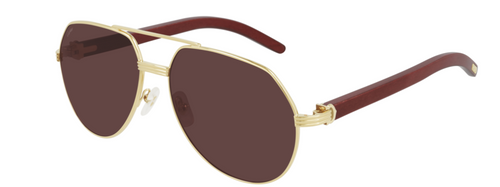 Authentic Cartier CT 0272S 004 Gold Red Wood/Violet Polarized Sunglasses