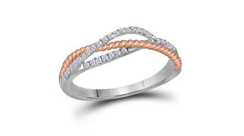 10kt White Gold Diamond Womens Rose-Tone Rope Crossover Strand Band 1/5 Cttw