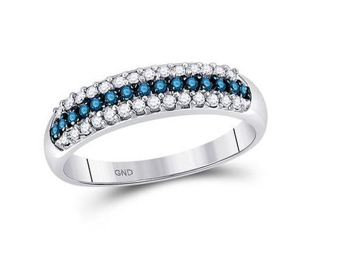 10kt White Gold Blue Diamond Womens Band Ring 3/8 Cttw