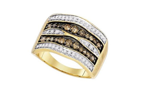 10kt Yellow Gold Brown Diamond Womens Cocktail Band Ring 3/4 Cttw