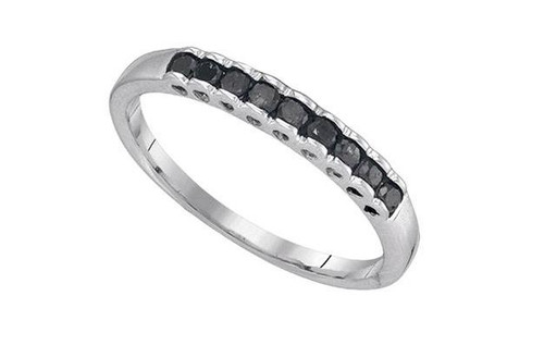 10kt White Gold Princess Black Diamond Womens Band Ring 1/4 Cttw