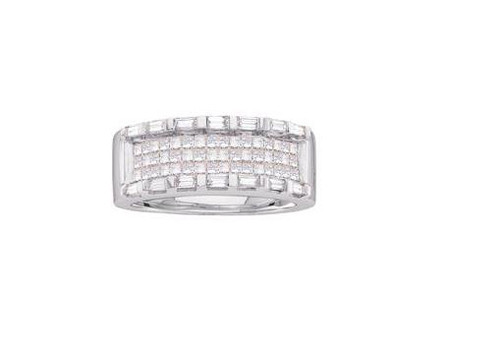14kt White Gold Princess Diamond Womens Band Ring 1 Cttw