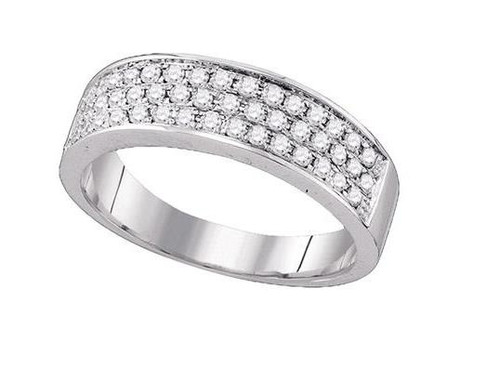 10kt White Gold Diamond Womens Band Ring 1/2 Cttw