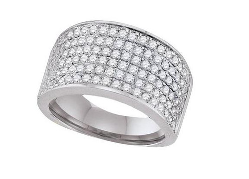10kt White Gold Diamond Womens Band Ring 1-1/2 Cttw