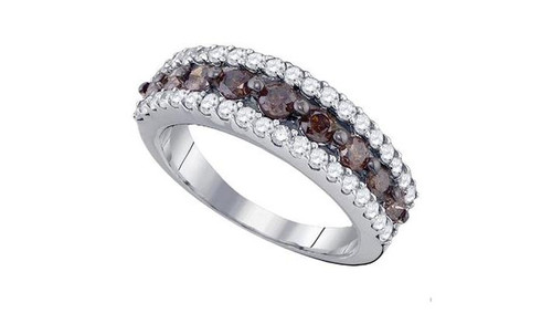 10kt White Gold Brown Diamond Womens Band Ring 1-1/2 Cttw