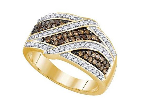 10kt Yellow Gold Brown Diamond Womens Band Ring 3/4 Cttw