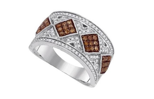 10kt White Gold Brown Diamond Womens Band Ring 5/8 Cttw