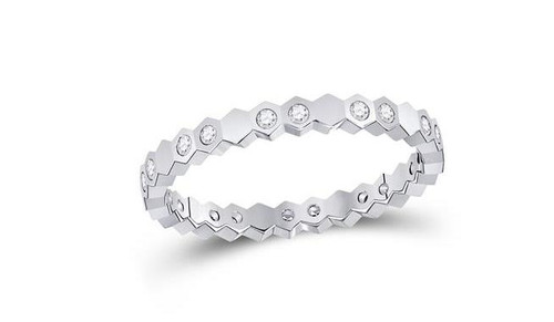 14kt White Gold Diamond Jagged Edge Womens Band Ring 1/5 Cttw
