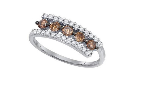 10kt White Gold Brown Diamond Womens Triple Row Band Ring 5/8 Cttw