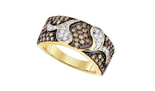 10kt Yellow Gold Brown Diamond Womens Cocktail Band Ring 7/8 Cttw