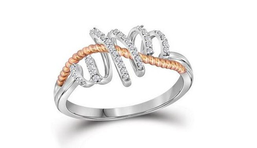 10kt White Gold Diamond Womens Pink-Tone Rope Spiral Band Ring 1/10 Cttw