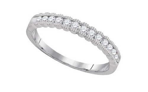 10kt White Gold Diamond Machine Set Womens Band Ring 1/4 Cttw