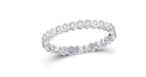 14kt White Gold Diamond Jagged Edge Womens Band Ring 1/4 Cttw