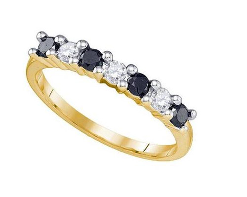 10kt Yellow Gold Black Diamond Womens Wedding Anniversary Ring 1/2 Cttw