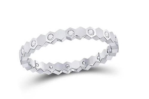 14kt White Gold Diamond Jagged Edge Womens Band Ring 1/8 Cttw