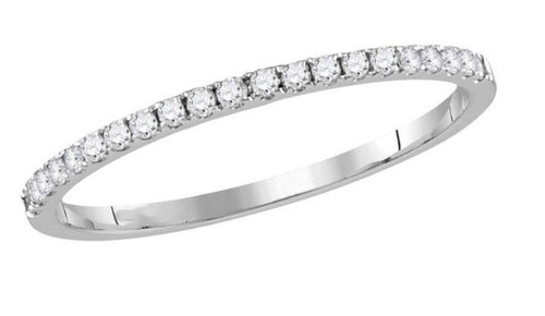 14kt White Gold Diamond Slender Womens Stackable Band Ring 1/6 Cttw