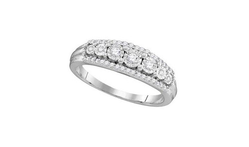 10kt White Gold Diamond Womens Triple Row Band Ring 1/4 Cttw