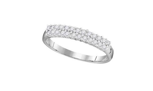 10kt White Gold Diamond Womens Double Row Band Ring 1/3 Cttw