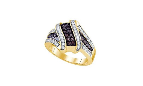 10kt Yellow Gold Brown Diamond Womens Crossover Band Ring 1/2 Cttw