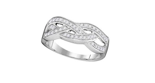 10kt White Gold Diamond Womens Woven Band Ring 1/3 Cttw