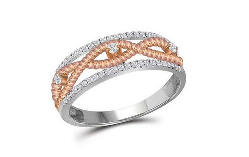 10kt White Gold Diamond Womens Rose-Tone Rope Twist Band Ring 1/4 Cttw