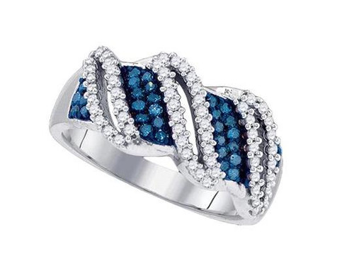 10kt White Gold Blue Diamond Womens Ring 1/2 Cttw