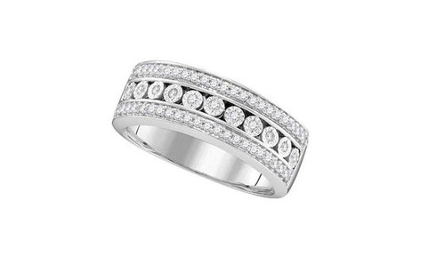 10kt White Gold Diamond Womens Triple Row Channel Band Ring 1/3 Cttw