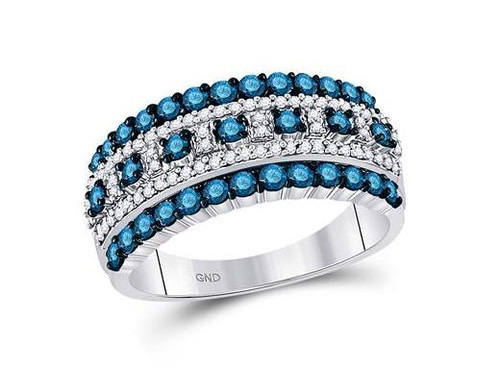 10kt White Gold Blue Diamond Womens Band Ring 1 Cttw