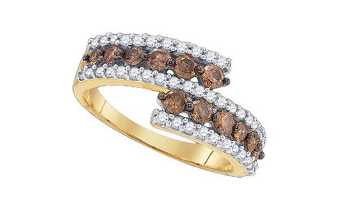 10kt Yellow Gold Brown Diamond Womens Band Ring 1 Cttw