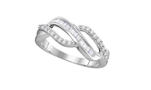 10kt White Gold Baguette Diamond Womens Open Crossover Band Ring 1/4 Cttw