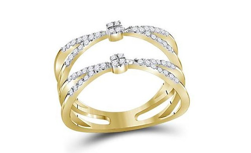 10kt Yellow Gold Diamond Womens Pinched Strand Band Ring 1/3 Cttw