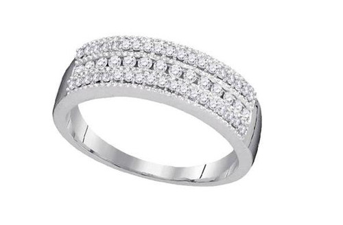 10kt White Gold Diamond Womens Band Ring 1/3 Cttw