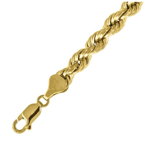 """10kt Yellow Gold 6m Sizes length 7"""" - 22"""" Rope Chain Diamond Cut Gold Necklace"""