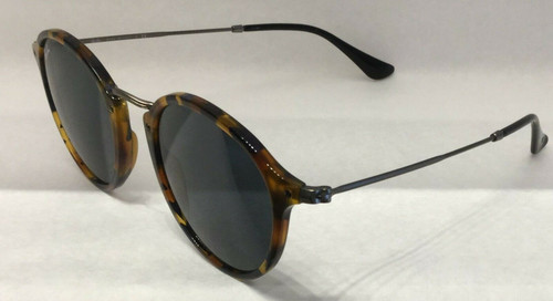 Authentic Ray Ban 0RB2447 ROUND/CLASSIC 1158R5 SPOTTED BLUE HAVANA Sunglasses