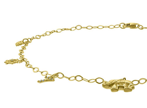 10kt Yellow Gold Womens Polished Finish Elephant Anklet Size: 10 inches
