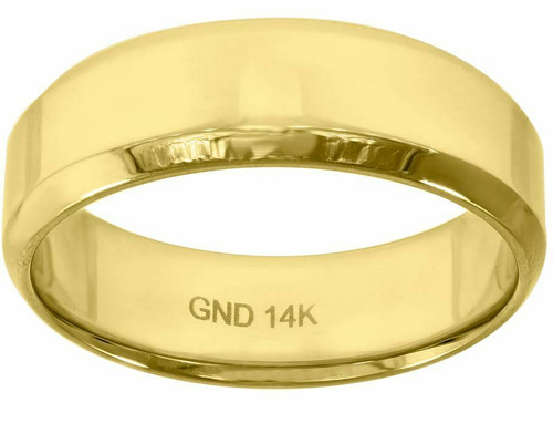 14kt Gold Men's Polished Beveled Edges Wedding Engagement Ring Band 78368