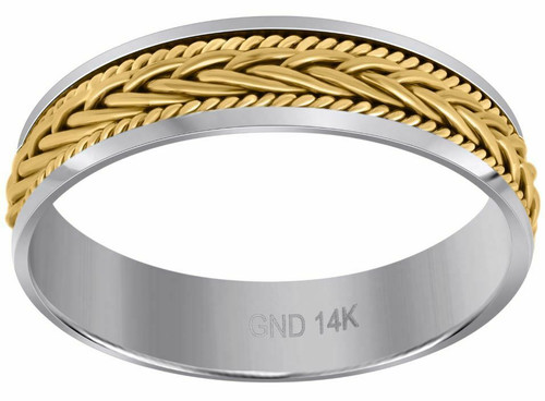 14kt Gold Two-tone Gold Men's Hand Braided Wedding Band Comfort Fit Band 98696