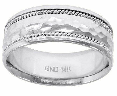 14kt White Gold Hammered Finished Raised Center Twisted Rope Sides Band 78339