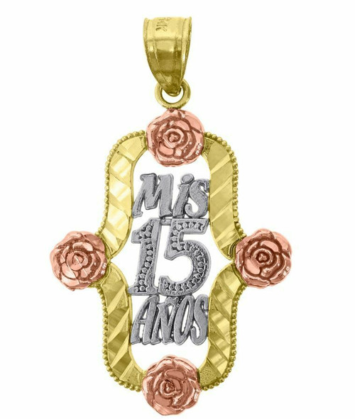 14kt Gold Tri-color Diamond Cut 15 Anos Flower Quinceanera Pendant Charm 77127