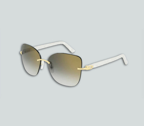 Authentic Cartier CT 0001RS 001 White/Gold Sunglasses