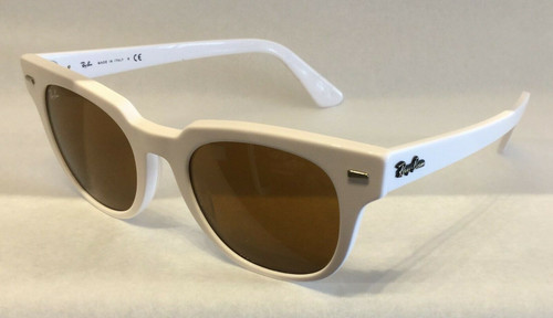Authentic Ray Ban 0RB2168 Meteor 128933 White/Brown Sunglasses
