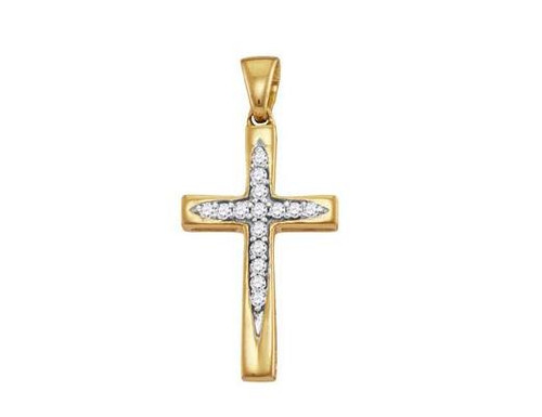 10kt Yellow Gold Diamond Cross Pendant 1/10 Cttw