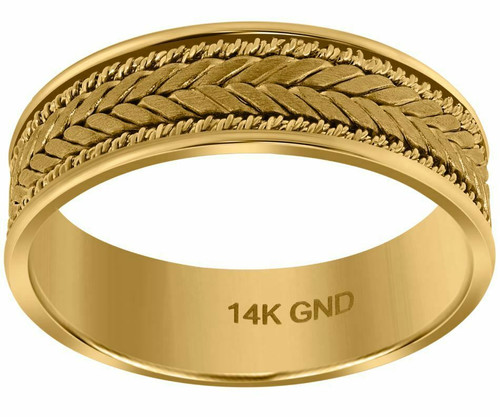 14kt Gold Men's Woven Center Side Double Rope Twisted Band 72395