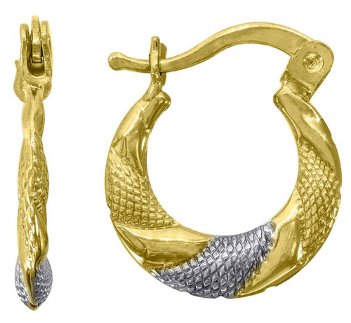 10kt Gold Two-tone Womens Twisted Textured Hoop Earrings