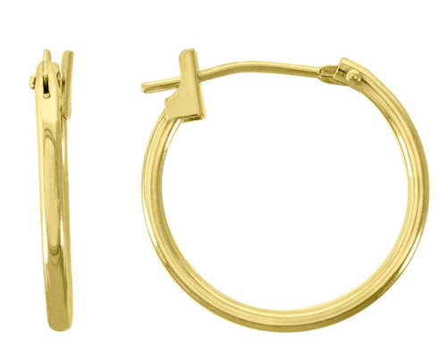 14kt Yellow Gold Unisex Polished Huggie Hoop 16mm Snap Earrings
