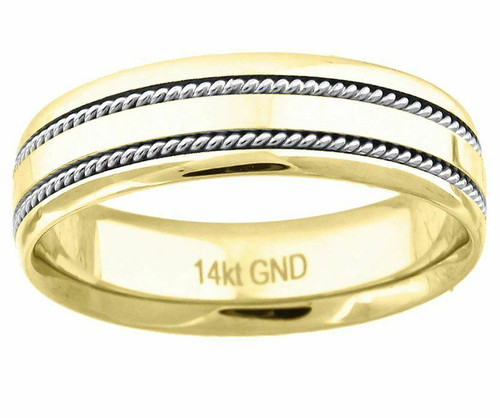 14kt Gold Unisex Two-tone Twisted Rope Sides Center Polished Band 72336