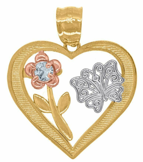 14kt Gold Tri-color Simulated Diamond Flower Butterfly Heart Pendant 82631